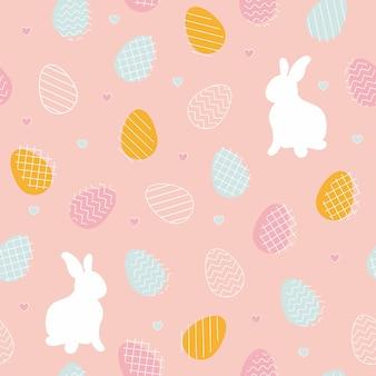 배너 월페이퍼 포장에 좋은 부활절 달걀과 토끼가 있는 벡터 원활한 패턴