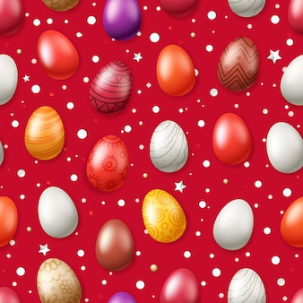Vector seamless pattern with easter eggs. easter holiday pattern for printing
