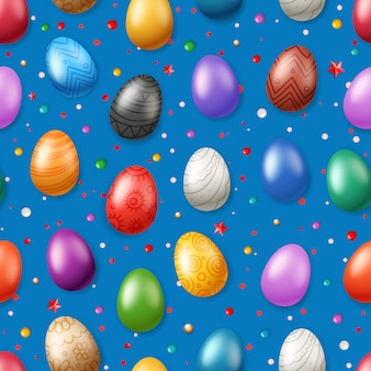 Vector seamless pattern with easter eggs. easter holiday