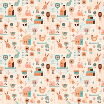 Vector seamless pattern with easter symbols.