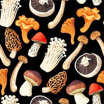 黒の背景に食用キノコとシームレスなパターンをベクトルします。