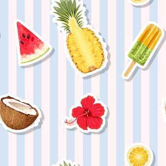 縞模様の背景にエキゾチックな果物とシームレスなパターンをベクトルします。