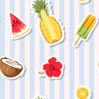 Vector seamless pattern with exotic fruits on striped background