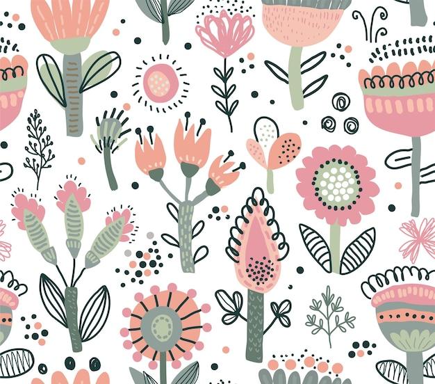 Vector seamless pattern with fancy flowers scandinavian motives