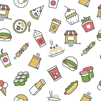 Vector seamless pattern with fast food line icons