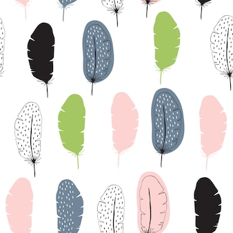 Vector seamless pattern with feathers in scandinavian style