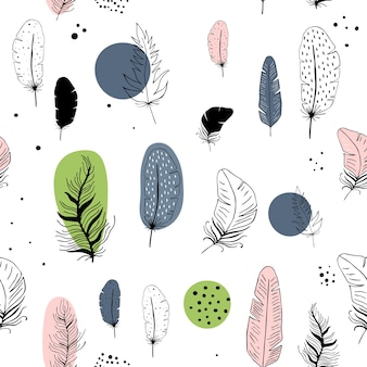 Vector seamless pattern with feathers in scandinavian style.