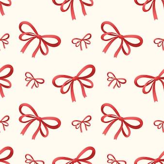 弓で結ばれたお祝いの赤いリボンでシームレスなパターンをベクトルします。クリスマスの飾りや包装紙。