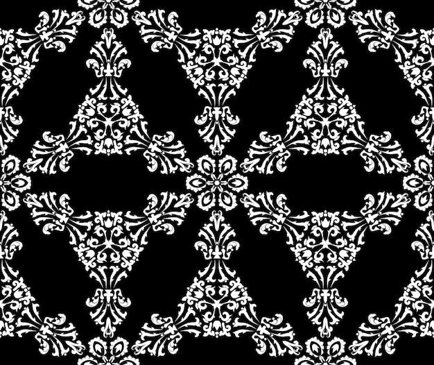 Бесшовный узор вектор с филигранными дамасскими узорами черно-белые декоративные текстуры менди узоры