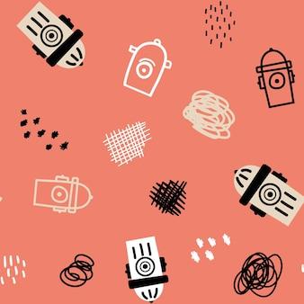 ピンクの背景に消火栓と抽象化とシームレスなパターンをベクトルします。