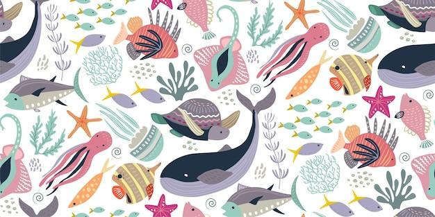 물고기와 바다 동물 해파리 해마 고래 거북이 문어 게와 벡터 원활한 패턴