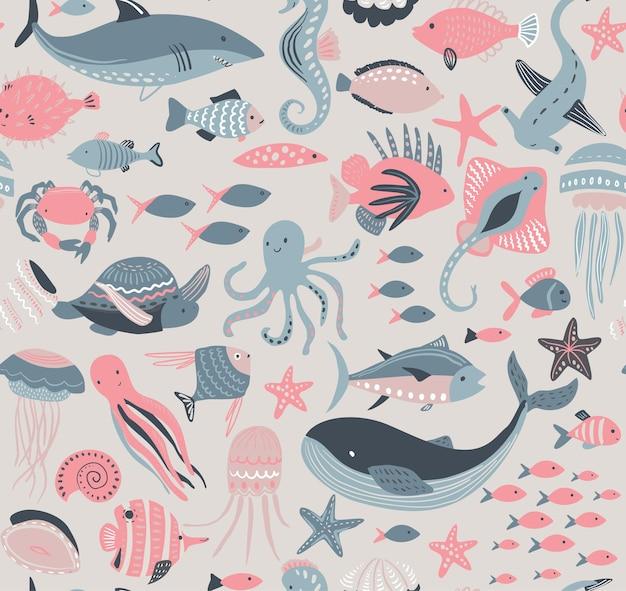 Бесшовный узор вектор с рыбой и морскими животными, медузы, морской конек, кит, черепаха, осьминог, краб