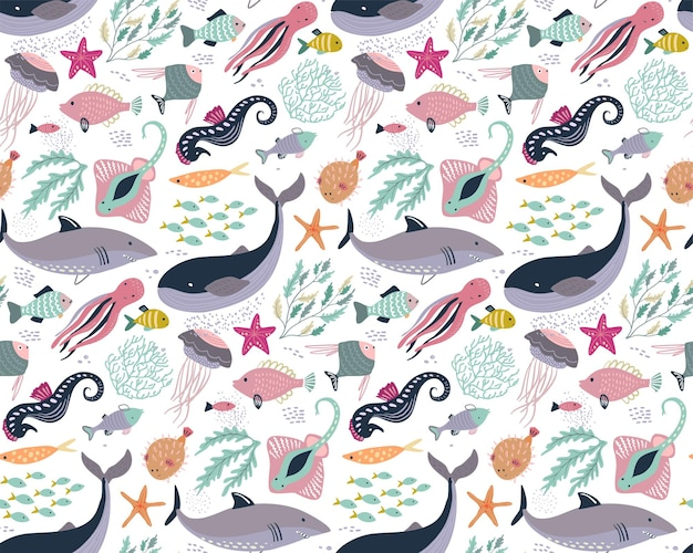 Vector seamless pattern with fish and sea animals jellyfish octopus whale turtle star crab