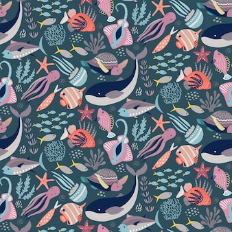 Vector seamless pattern with fish and sea animals