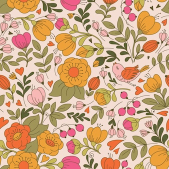 Vector seamless pattern with flower and birds