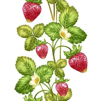 花とイチゴのシームレスなパターンベクトル