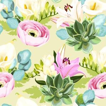 꽃과 succulents 벡터 원활한 패턴