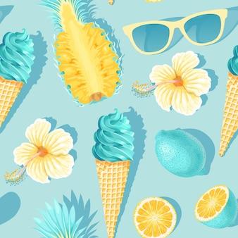 青い背景に花とトロピカルフルーツとシームレスなパターンをベクトルします。