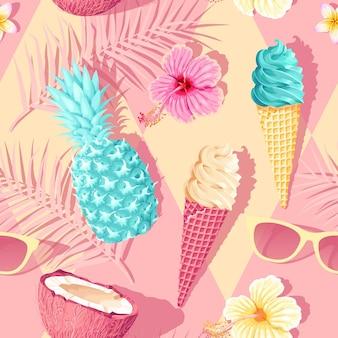 분홍색 배경에 꽃과 열대 과일이 있는 벡터 원활한 패턴