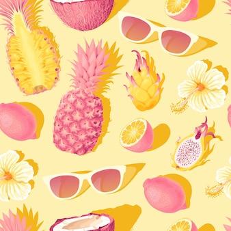 노란색 배경에 꽃과 열대 과일이 있는 벡터 원활한 패턴