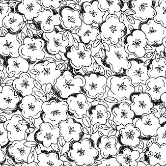 꽃과 벡터 완벽 한 패턴입니다. 손으로 그리는 도들 스타일의 꽃 배경