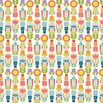 花とベクトルシームレスなパターン。花の背景。