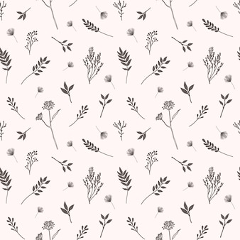 Vector seamless pattern with flowers, herbs and botanical elements in hand drawn style