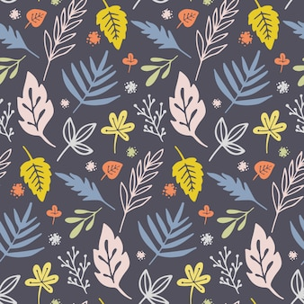 Vector seamless pattern with flowers and plants.