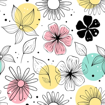 Vector seamless pattern with flowers. scandinavian motives.
