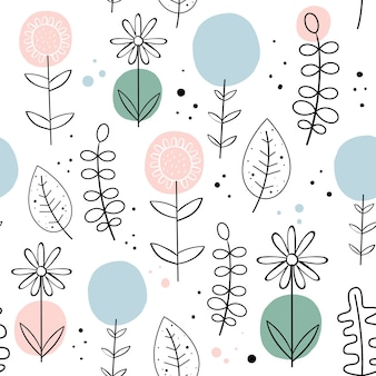 Vector seamless pattern with flowers. Scandinavian style.