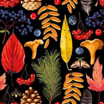 森の植物相とシームレスなパターンをベクトルします。