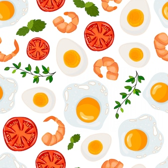 Vector seamless pattern with fried egg, shrimp, tomato