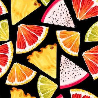 Бесшовный узор вектор с ломтиками фруктов