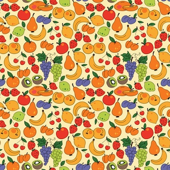 Vector seamless pattern with fruit