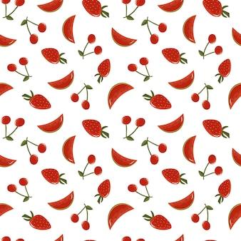 베리와 함께 딸기 체리 수박 여름 배경으로 과일과 함께 벡터 원활한 패턴