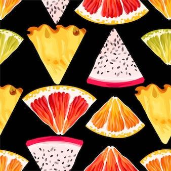 Бесшовный узор вектор с ломтиком фруктов