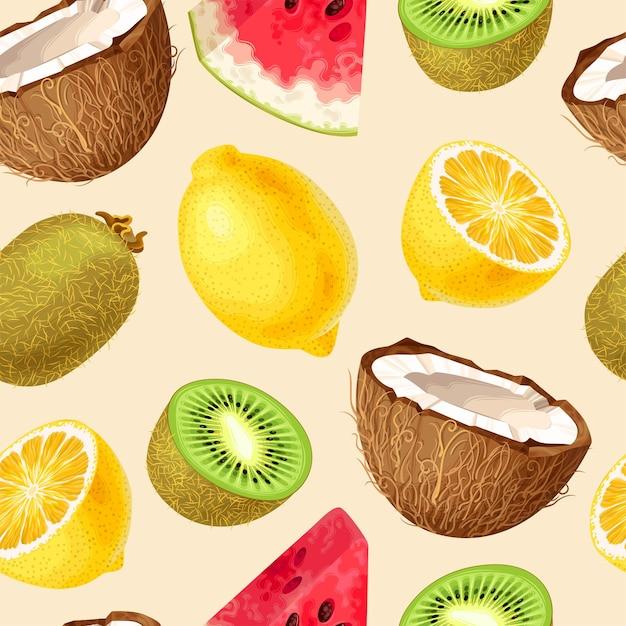 果物とシームレスなパターンをベクトルします。