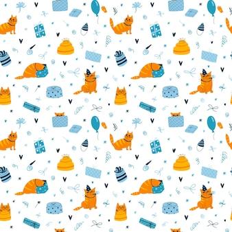 猫と白い背景のカラフルな壁紙に面白い誕生日の猫とシームレスなパターンをベクトルします。
