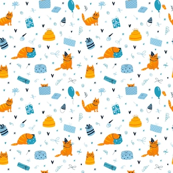 Vector seamless pattern with funny birthday cats on white background colorful wallpaper with cats