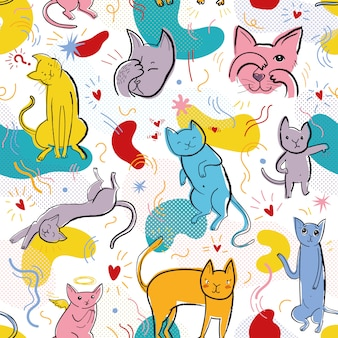 Vector seamless pattern with funny cats in memphis style