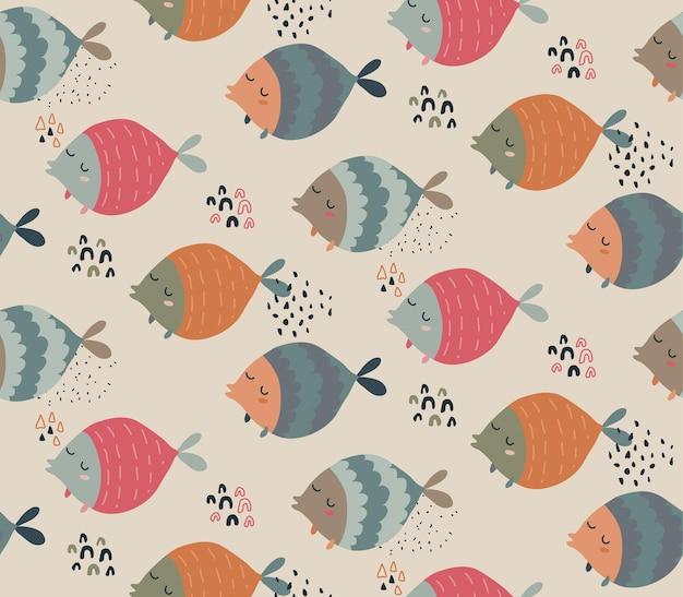 Бесшовный узор вектор с забавными рыбками в абстрактном скандинавском стиле