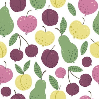 Vector seamless pattern with funny hand drawn flat garden fruits and berries. colored apple, pear, plum, peach, cherry texture. harvest repeating space picture