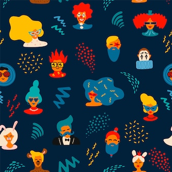 Vector seamless pattern with funny male and female faces in bright masks and costumes
