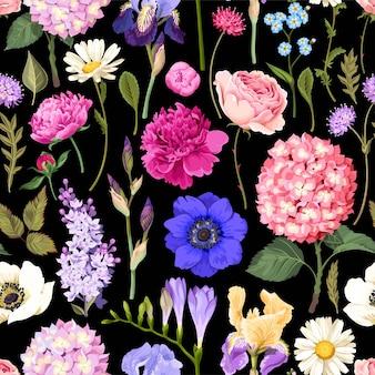 정원 꽃 벡터 원활한 패턴