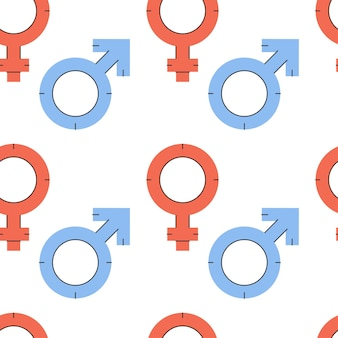 Vector seamless pattern with gender equality symbols