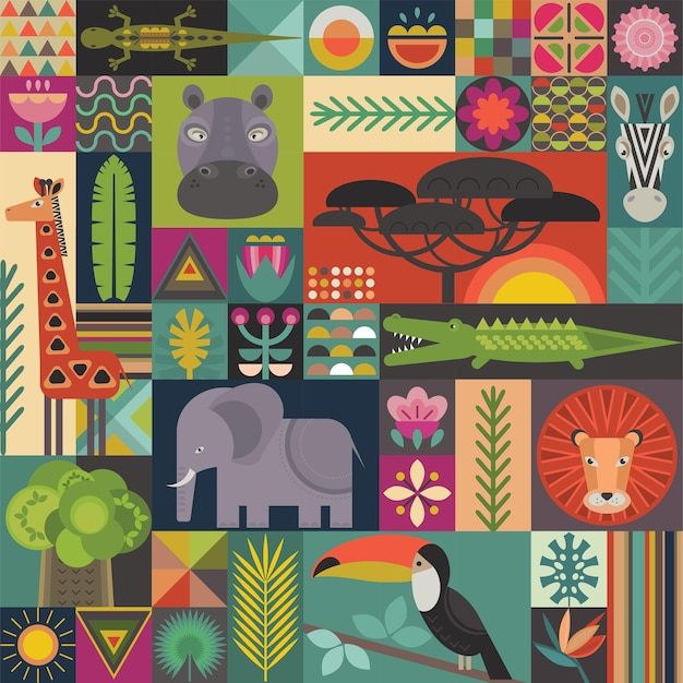 Vector seamless pattern with geometric cartoon african animals jungle plants and trees
