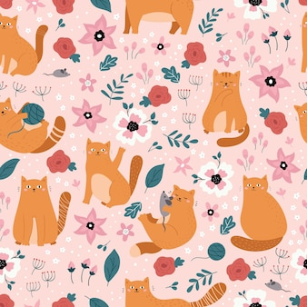 Vector seamless pattern with ginger doodle cats. hand drawn spring flowers on pink background.