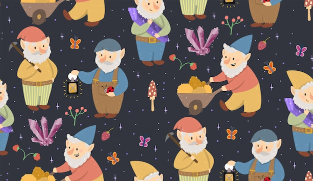 Vector seamless pattern with gnomes, golds, crystals, mushrooms, and butterflies
