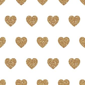 골드 하트와 벡터 완벽 한 패턴입니다. 흰색에 반짝이가 있는 반짝이는 반짝이는 배경