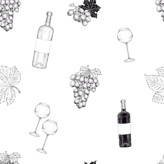 Vector seamless pattern with grape illustration